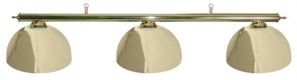 Pool Table Light - Brass Bar with 3 Brass Metal Bowl Shades