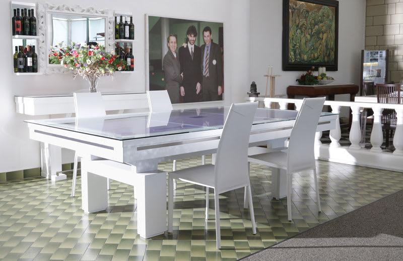 Etrusco Boccioni Pool Table in White - with Top