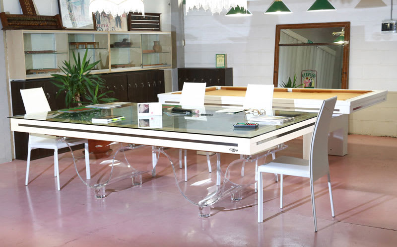 Etrusco Wave Pool Table in White with Top and Chairs