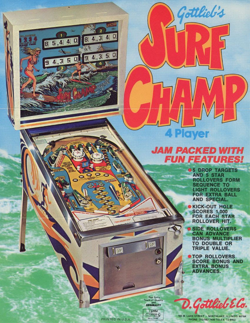 Surf Champ Pinball - Flyer