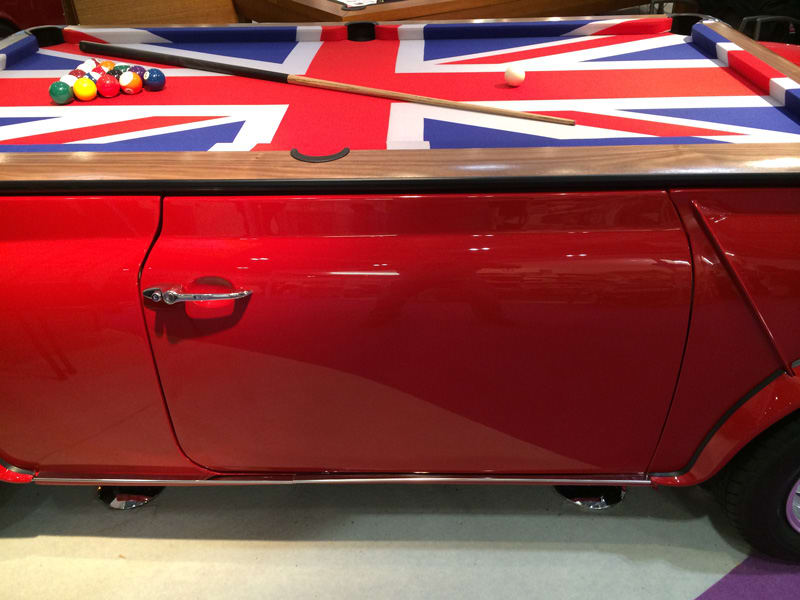 Mini Cooper Pool Table - side door and feet
