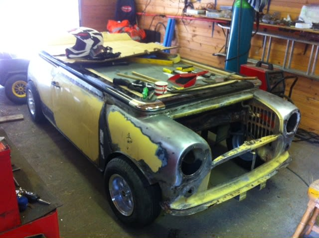 Mini Cooper Pool Table - bare metal preparation