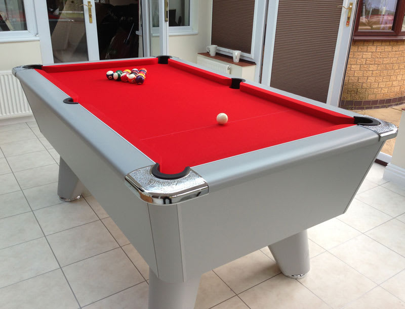 Supreme Winner Pool Table in Silver with a Red Cloth
