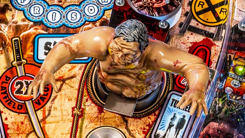 Stern The Walking Dead Pinball Machine - Playfield with Model Zombie