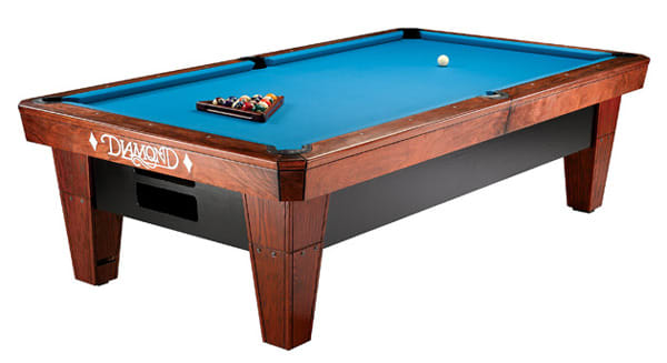 Diamond Billiards Pro-Am Pool Table in Rosewood with a Blue Cloth