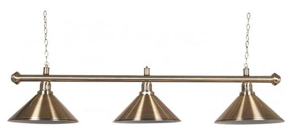Pool Table Light - Antique Gold Bar with Antique Gold Shades