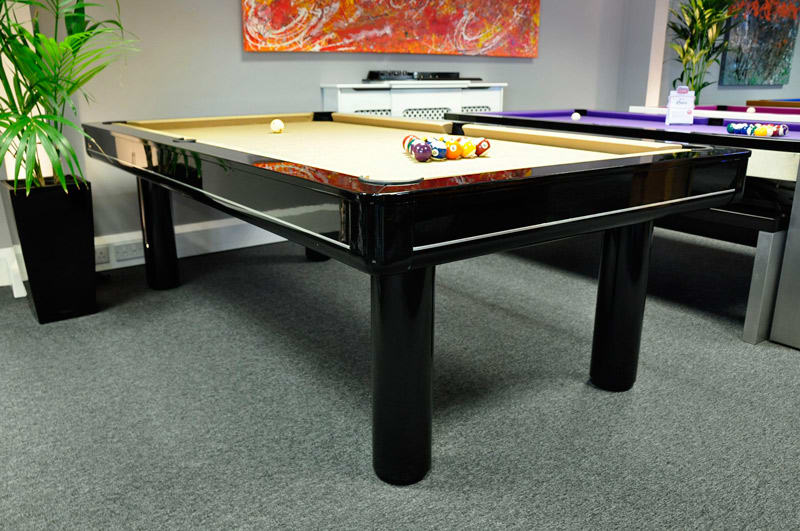 Longoni Elegant Black Pool Table with a Gold Cloth