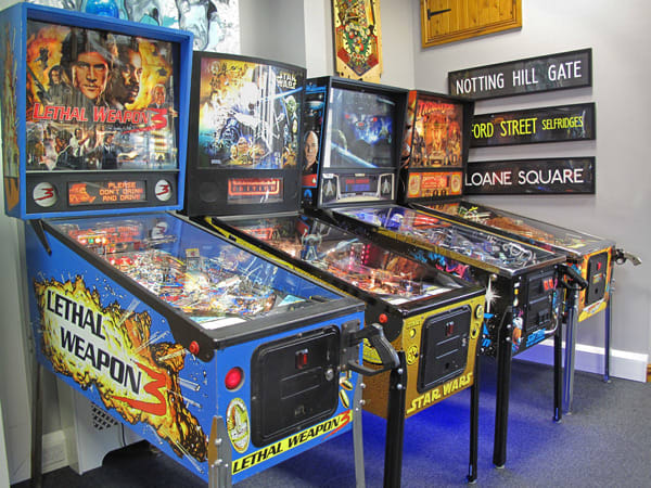 Vintage Pinball Machines on Display at Home Leisure Direct Showroom