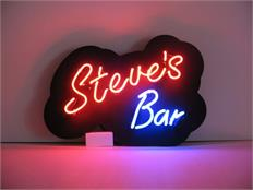 """XXXXXXXXX's Bar"" Neon Sign, 9 Letters, Acrylic Panel"