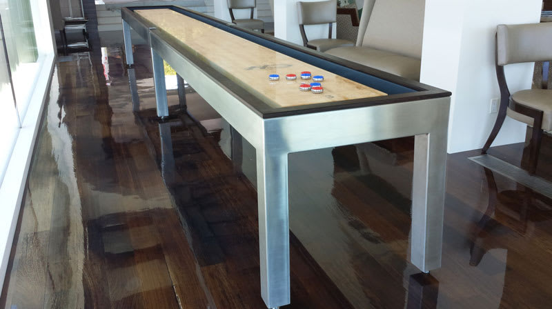 Hudson Brushed Stainless Steel Shuffleboard - Room Shot 1