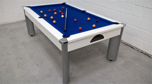 Fusion Pool Dining Table: White Blue Cloth: 7ft - Warehouse Clearance