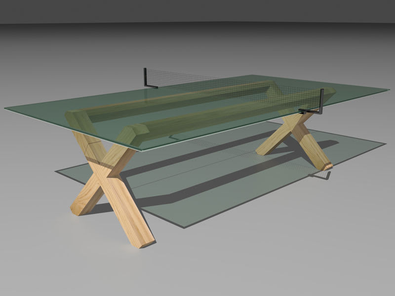King Pong Glass Table Tennis Table - Grey Background