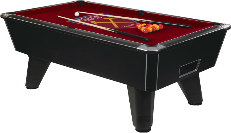 Black Winner Pool Table with West Ham Crest