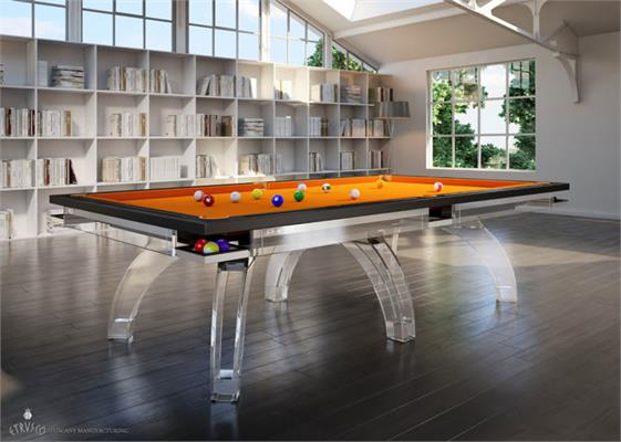 Etrusco P40 Pool Table: Demi Plexiglass - 7ft, 8ft, 9ft, 10ft, 12ft