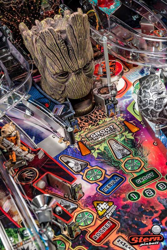 Guardians of the Galaxy Pro Pinball Machine - Groot Head Open