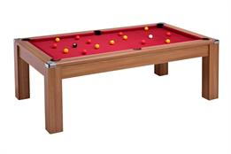 Signature Warwick Pool Dining Table: Walnut - 7ft with Cherry Red Cloth