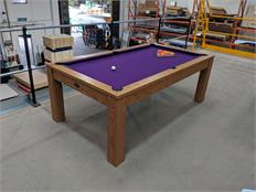 Signature Chester Oak Pool Dining Table 7ft - Oak with Purple Cloth: Warehouse Clearance