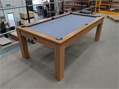 Signature Chester Oak Pool Dining Table 7ft - Oak with Silver Cloth: Warehouse Clearance