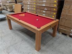 Signature Chester Oak Pool Dining Table 7ft - Oak with Windsor Red Cloth: Warehouse Clearance