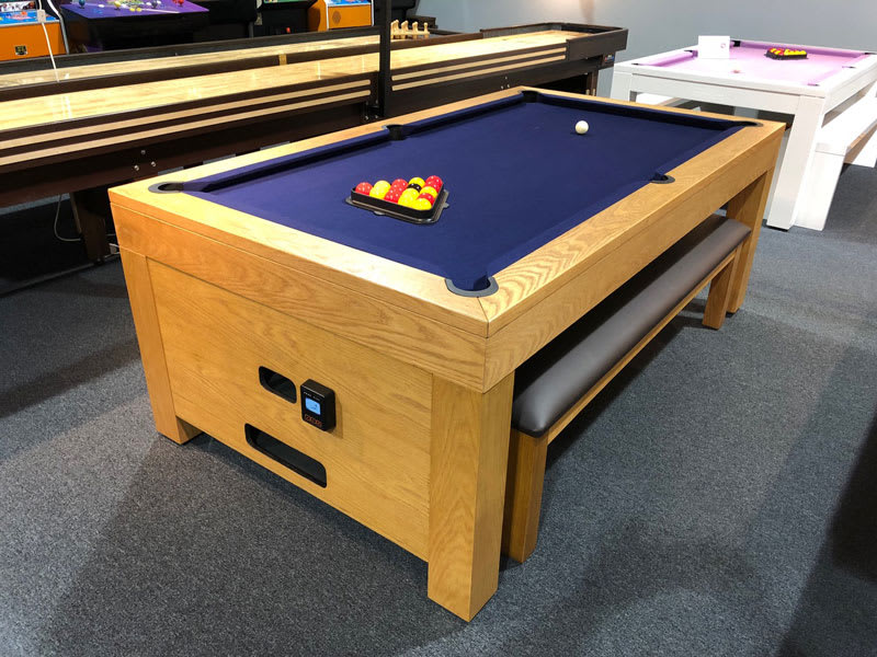 Signature Vantage Contactless Pool Dining Table - Payment End 3/4 View with Bench