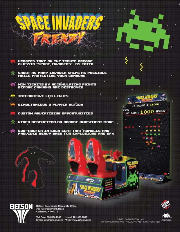 Space Invaders Frenzy Arcade Machine Flyer