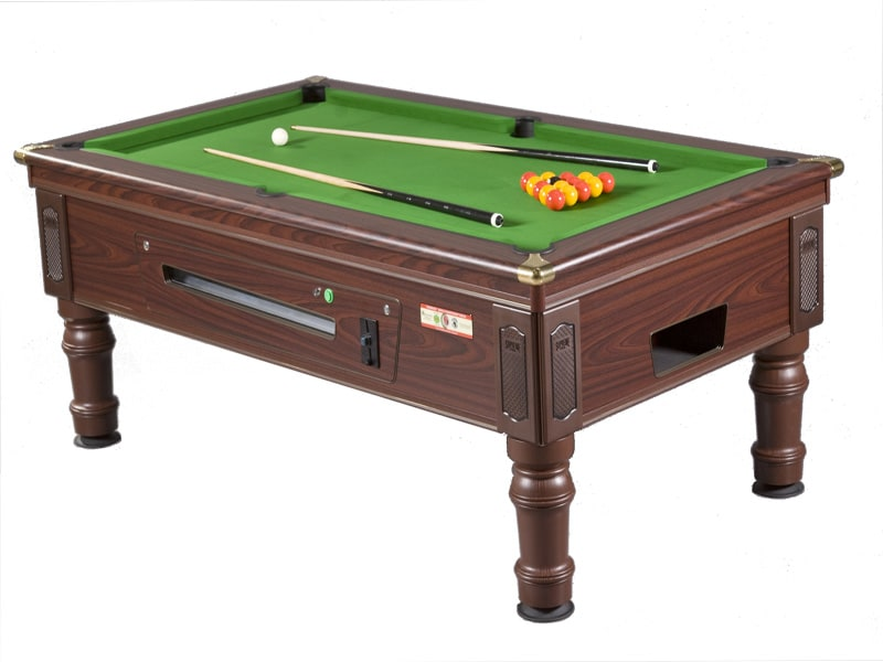 Supreme Prince Mahogany Pool Table with Electronic Coin Mechanism