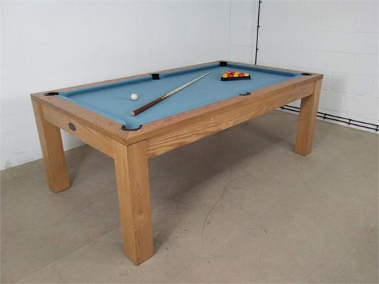 Signature Chester Oak Powder Blue Pool Dining Table - 7ft: Warehouse Clearance