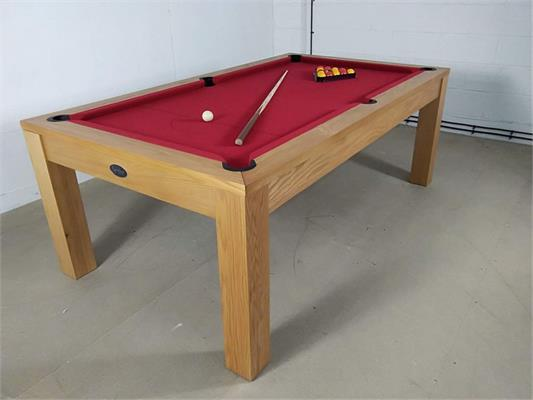 Signature Chester Oak Cherry Red Pool Dining Table - 7ft: Warehouse Clearance