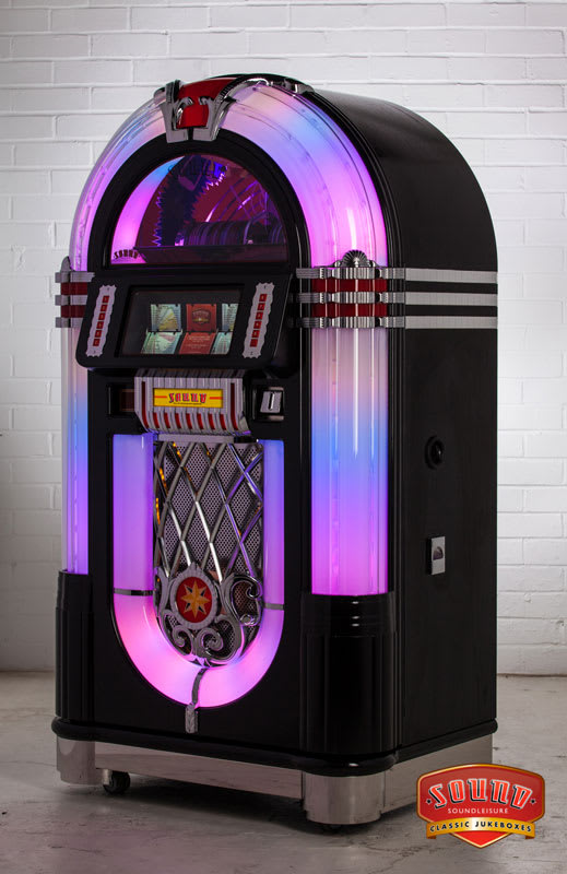 An image of Sound Leisure SL15 Slimline Jukebox - Black Ash