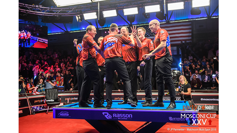 Mosconi Cup - USA Winners Standing on Rasson Victory 2 Pool Table