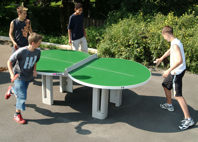 Butterfly Figure 8 Concrete Outdoor Table Tennis Table: In action