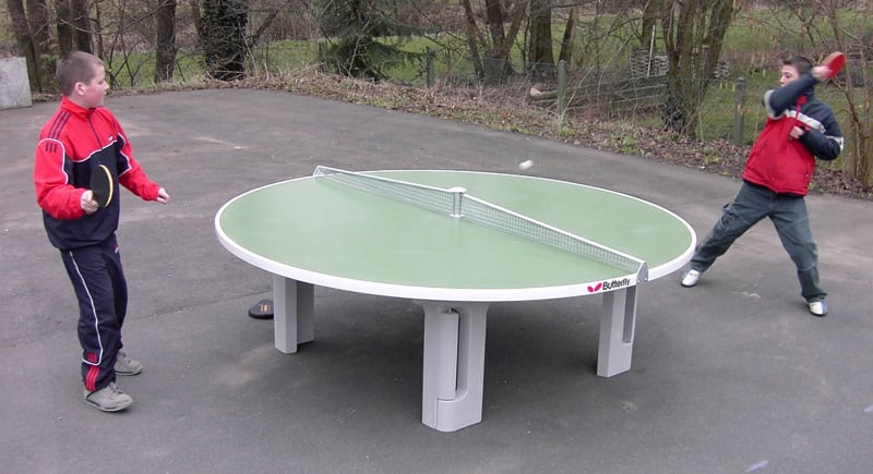 Butterfly R2000 Round Concrete Outdoor Table Tennis Table: In action