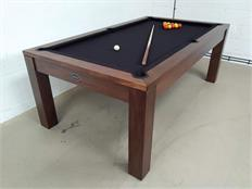 Signature Chester Walnut Black Pool Dining Table - 7ft: Warehouse Clearance