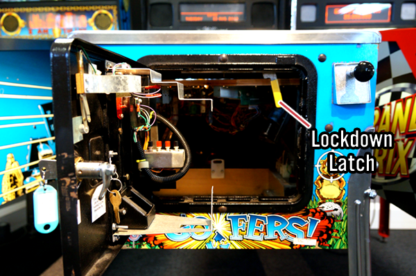 Pinball Machine Lockdown Latch Location