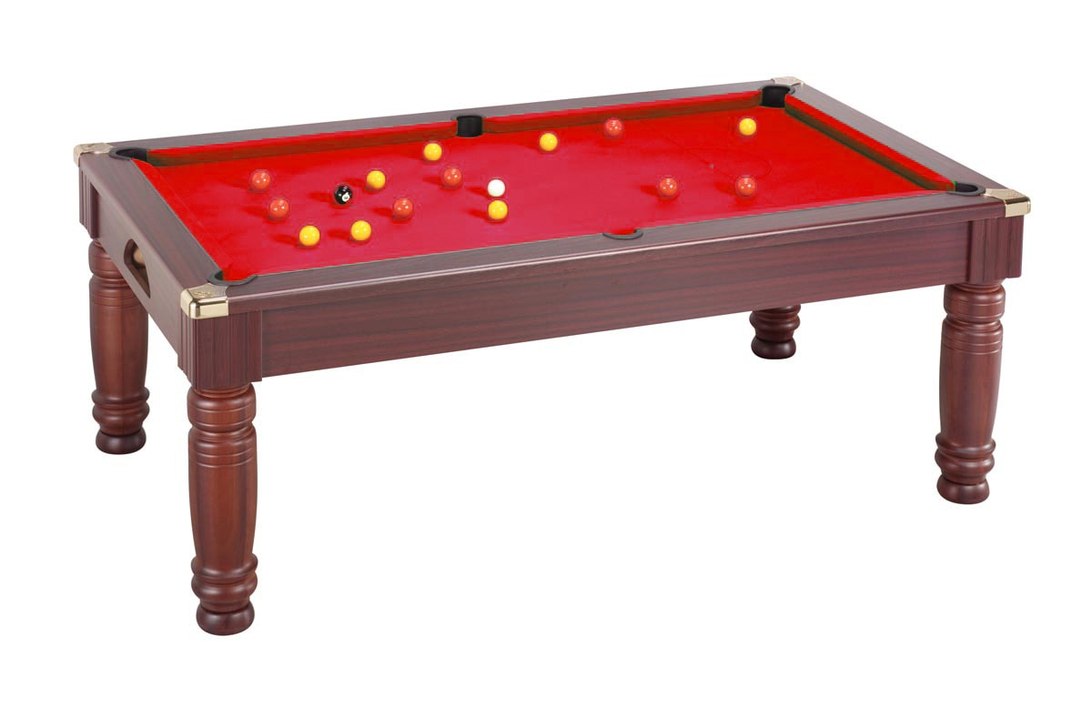 Majestic Pool Dining Table: Mahogany - Cherry Red cloth