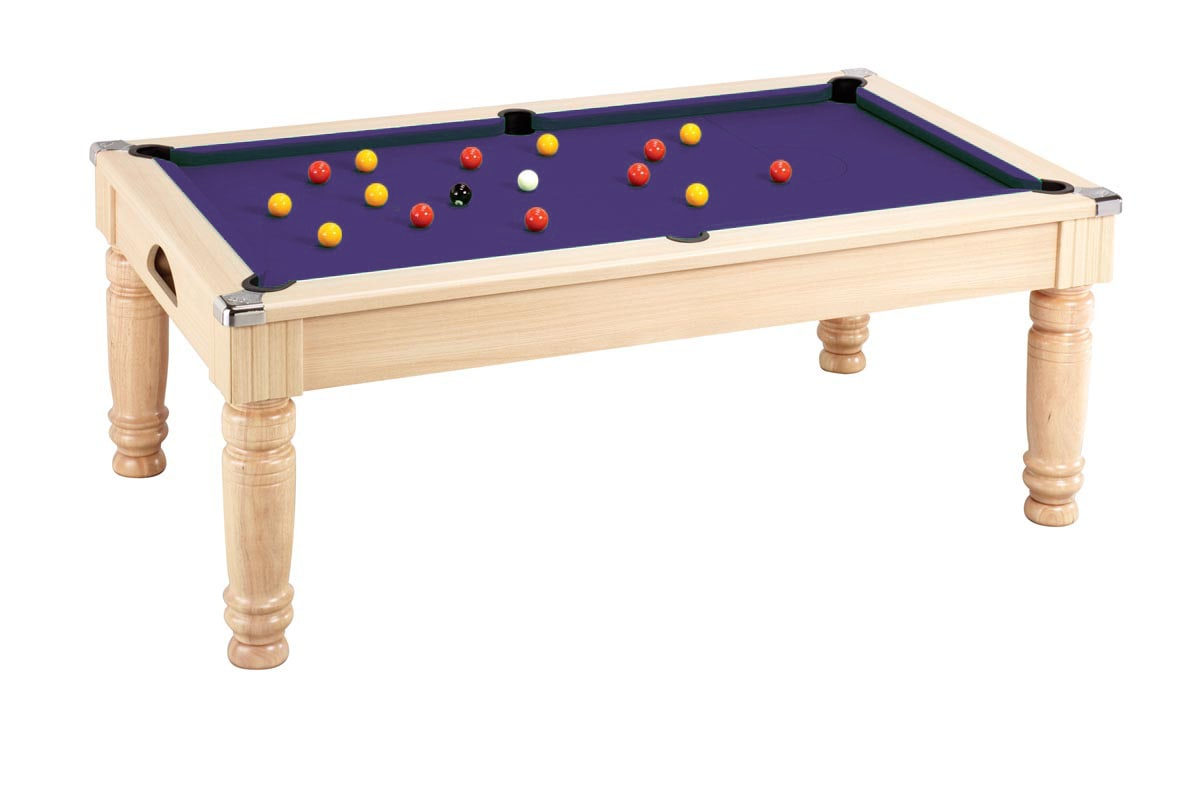 Majestic Pool Dining Table: Oak - Purple cloth