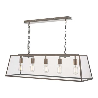 Dar Lighting Academy 5 Bar Light Bar Pendant in Antique Copper