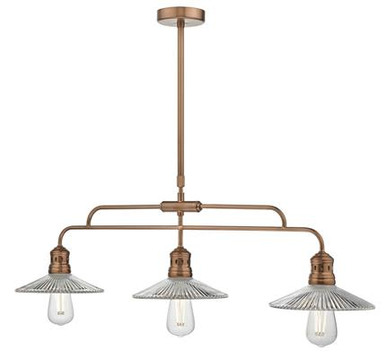 Dar Lighting Adeline Bar Pendant Light in Brushed Copper with Glass Shades