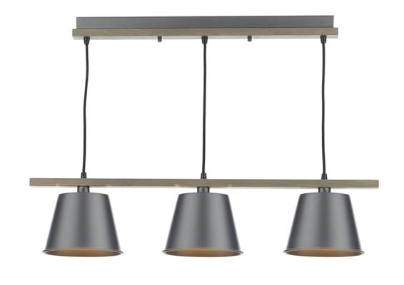 Dar Lighting Arken 3 Light Pendant in Grey with Wood