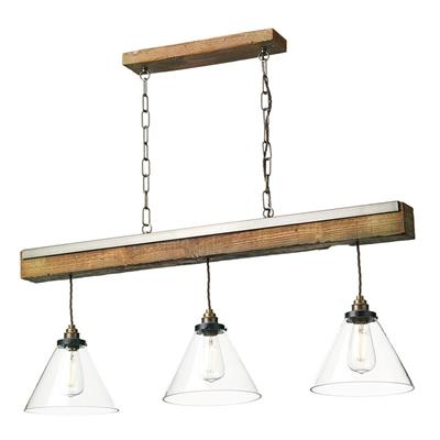 Dar Lighting Aspen 3 Light Bar Pendant Light with Natural Wood Effect