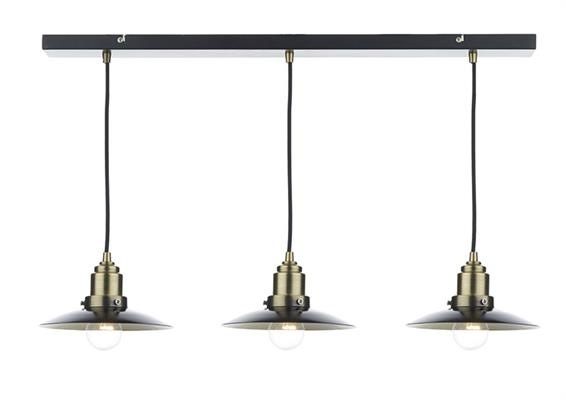 Dar Lighting Hannover Bar Pendant Light in Black with Antique Brass