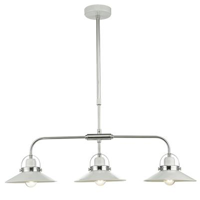 Dar Lighting Liden Bar Pendant Light in White with Polished Chrome