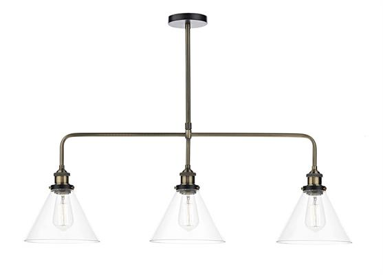 Dar Lighting Ray 3 Light Bar Pendant Light in Antique Brass