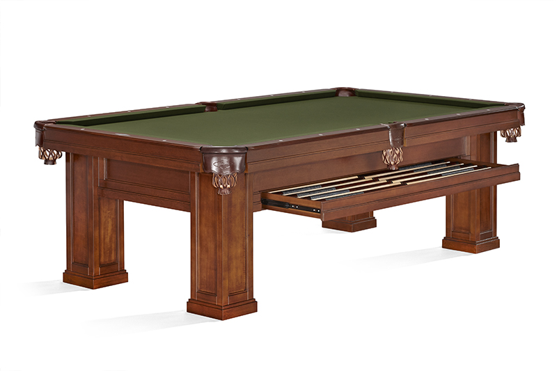 Brunswick Oakland II American Pool Table - Chestnut (Drawer Open)