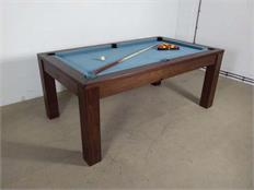 Signature Chester Walnut Smart Powder Blue Pool Dining Table: Clearance