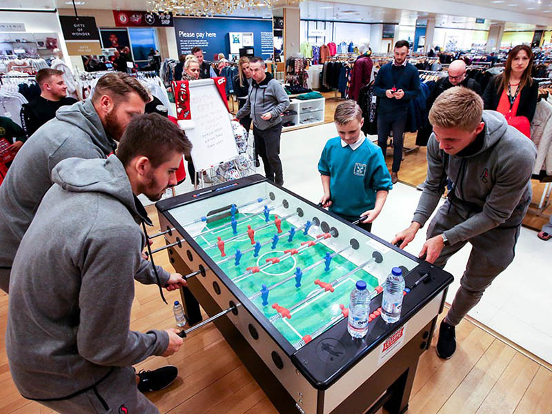 Bristol City players and fans enjoying the Football Table