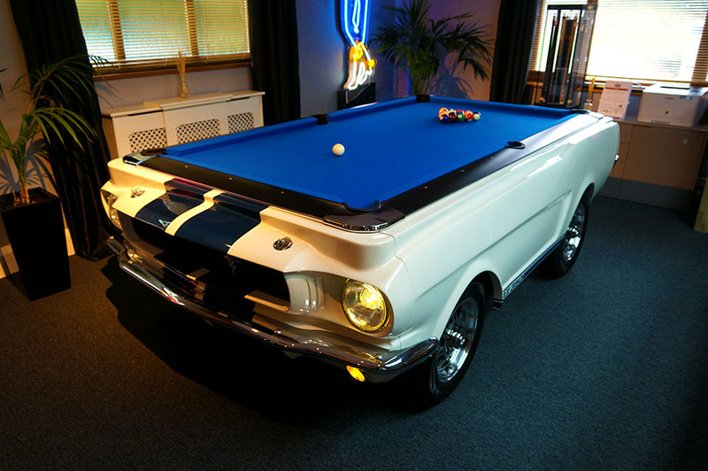 Car Pool Tables 1965 Ford Mustang American Pool Table: Wimbledon White - In Showroom (Dark)