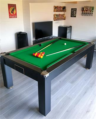 Signature Warwick Pool Dining Table: Black - 6ft, 7ft