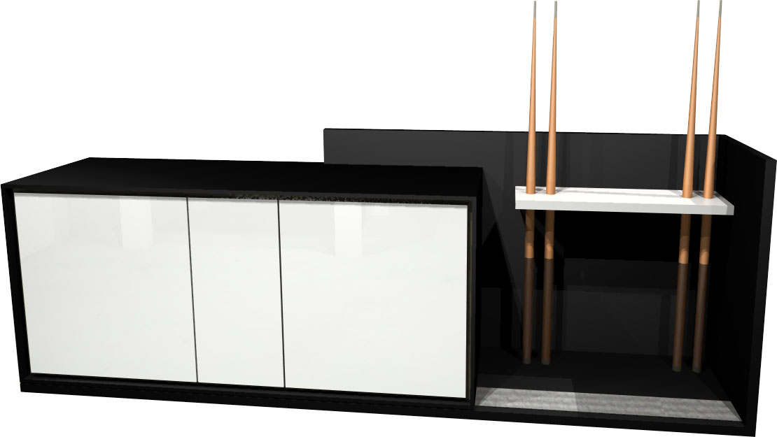Aramith Fusion Sideboard 242cm in Black - White Matte Lacquer Doors
