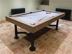 Signature McQueen Silver Mist Oak Pool Dining Table: 7ft